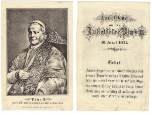 Il ritratto di Pio IX edito dal litografo Kravogl di Innsbruck nel 1871