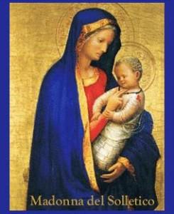 Immaginetta moderna. Riproduce la Madonna del Solletico, opera attribuita al Masaccio