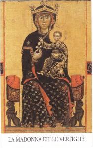 Una riproduzione dell'immagine della Madonna delle Vertighe su  un santino moderno