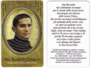 Santino moderno, stampato su PVC. Sul verso tutte le informazioni sulla parrocchia.