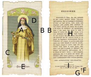 Elementi strutturali di un'immaginetta religiosa