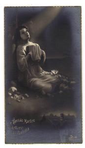 Il santino modificato dal pittore Bagni, con l'aggiunta del giovane Balilla