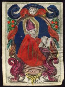 Immaginetta su pergamena, colorata a mano, firmata dal fiammingo Cornelius de Boutd. Da notare come il colore è steso in maniera incerta e approssimata.