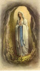 Santino popolare, in offset, raffigurante la Vergine di Lourdes.