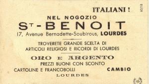 Pubblicità di un negozio di articoli religiosi di Lourdes, stampata dietro un santino.