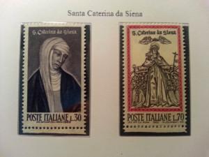 Santa Caterina da Siena su due francobolli emessi da Poste Italiane