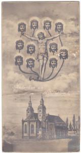 Un santino popolare, monocromatico, stampato in Germania negli anni Trenta