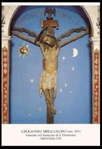 Il Crocifisso Miracoloso in un santino di recente stampa