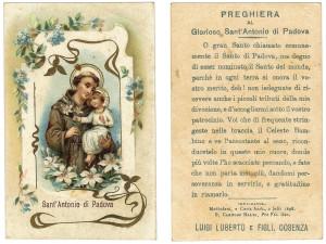 Una cromolitografia con il logo della ditta Luberto e Figli