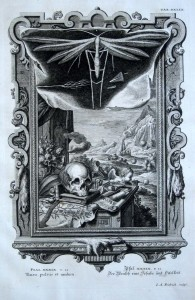 Memento Mori. Incisore I.A. Friedrich. Germania XVIII secolo