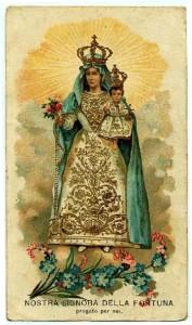 Santino popolare cromolitografico raffigurante Nostra Signora della Fortuna