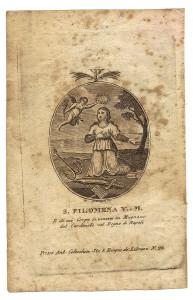 L'immagine di Santa Filomena, venerata a Mugnano di Nola, in un'incisione degli inizi del XIX secolo