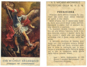 San Michele Arcangelo, protettore della Milizia Volontaria per la Sicurezza Nazionale fascista