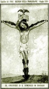 Il Crocifisso di San Domenico in Chioggia raffigurato in un santino