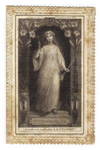 Santa Filomena in un'incisione su acciaio dell'editore francese Boumard. In Francia il culto della Santa è da sempre molto sentito
