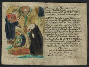 In questa immaginetta, la preghiera è stampata a lato dell'immagine.
