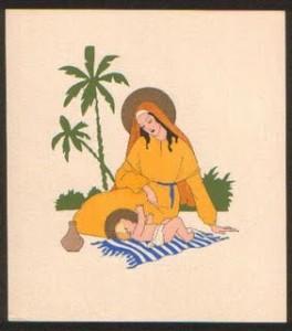 Una bellissima immaginetta della Serie GM di Meschini. Gesù Bambino steso sull'asciugamano
