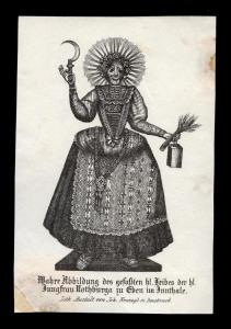 L'immagine di Santa Notburga, in una litografia dell'austriaco Kravogl. Seconda metà XIX sec.