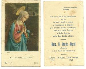 Il verso di questo santino è dedicato al ricordo di un Sacerdozio