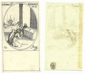 Un sigillo di collezione posto sul verso di un'incisione del Callot