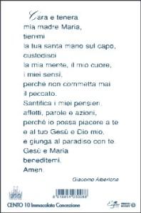 Il verso del santino