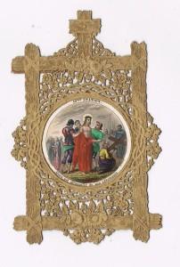 10 Stazione - Gesù è spogliato delle vesti. Villemur, Parigi, 1860 circa. Siderografia su carta con coloritura a mano.