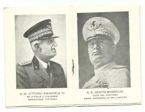 Le due pagine centrali con le foto del Re e del Duce