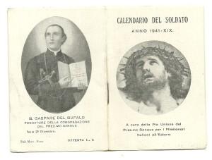 La prima (Ecce Homo) e la quarta di copertina (B. Gspare del Bufalo) del Calendario del Soldato (1941)