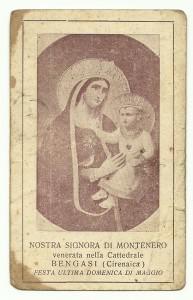 Il santino con l'immagine della Madonna di Montenero, venerata negli anni 30 nella cattedrale di Bengasi
