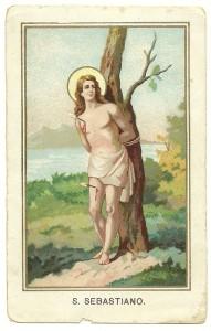 Un'immagine classica di San Sebastiano in una cromolitografia di fine Ottocento