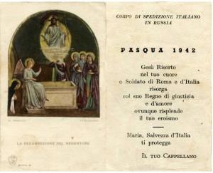 Comunione Pasquale datata 1942 del Corpo di Spedizione Italiano in Russia