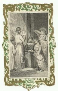Siderografia di metà XIX secolo raffigurante una scena di un matrimonio fra due nobili
