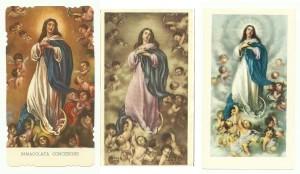 L'Immacolata Concezione di Murrillo riprodotta nei santini editi da Ed.G.Mi, AR e EB