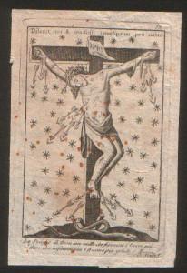 Incisione firmata Scafa di Napoli. Raffigura il Cristo Crocifisso di S. Alfonso