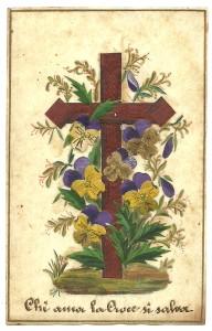 Collage di produzione italiana (cm 6,5 x 10,4). Seconda metà del XIX sec.