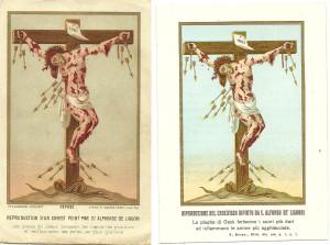 Due cromolitografie riproducenti il Cristo Crocifisso dipinto da S. Alfonso de' Liguori. La prima è firmata Saudinos-Ritouret, l'altra è in edizione italiana