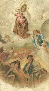 Un santino raffigurante la Madonna del Carmine e le anime del Purgatorio