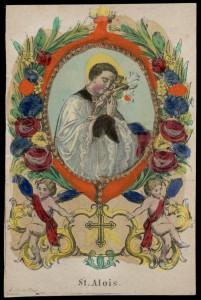 San Luigi, protettore degli ammalati di AIDS, in un'incisione firmata J. Koppe, Praga, metà 800