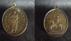 Medaglietta votiva, in bronzo, raffigurante S. Lucia e S. Ippolito