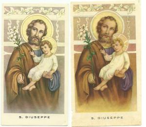 Due santini della Serie Isonzo, corrispondenti al numero progressivo 32. Si nota la diversità di tono