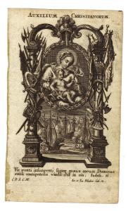 Incisione a bulino appartenente alla serie delle Litanie Lauretane dei Fratelli Klauber. Augsburg, 1749.