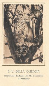 """Santino """"seppiato"""" raffigurante la B. V. della Quercia di Viterbo."""