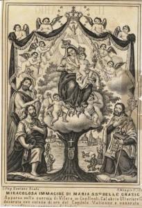 Litografia raffigurante la Madonna della Quercia di Visora. Produzione Gaetano Scafa, Napoli, Seconda metà del XIX secolo.