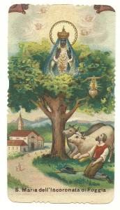 Santino popolare degli anni 20 del Novecento, raffigurante la Madonna Incoronata di Foggia