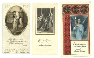 A sinistra, cromolito datata 1925, Bouasse Jeune; al centro, fototipia applicata su similpergamena, 1936; a destra, offset del 1948. (Immaginette Disponibili)