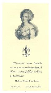 Santino pubblicato nel 1935 per il processo di beatificazione di Elisabetta di Francia. (Immaginetta Disponibile)