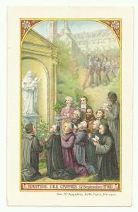 L'immaginetta raffigura i martiri carmelitani del 2 settembre 1792. (Immaginetta Disponibile)