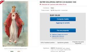 L'inserzione su ebay del santino n. 14 della AR/Z a 150 Euro