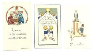 Tre santini della Bouasse Jeune stampati negli anni 50 e 60