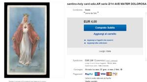 Lo stesso santino offerto a Euro 4,00 sullo stesso sito